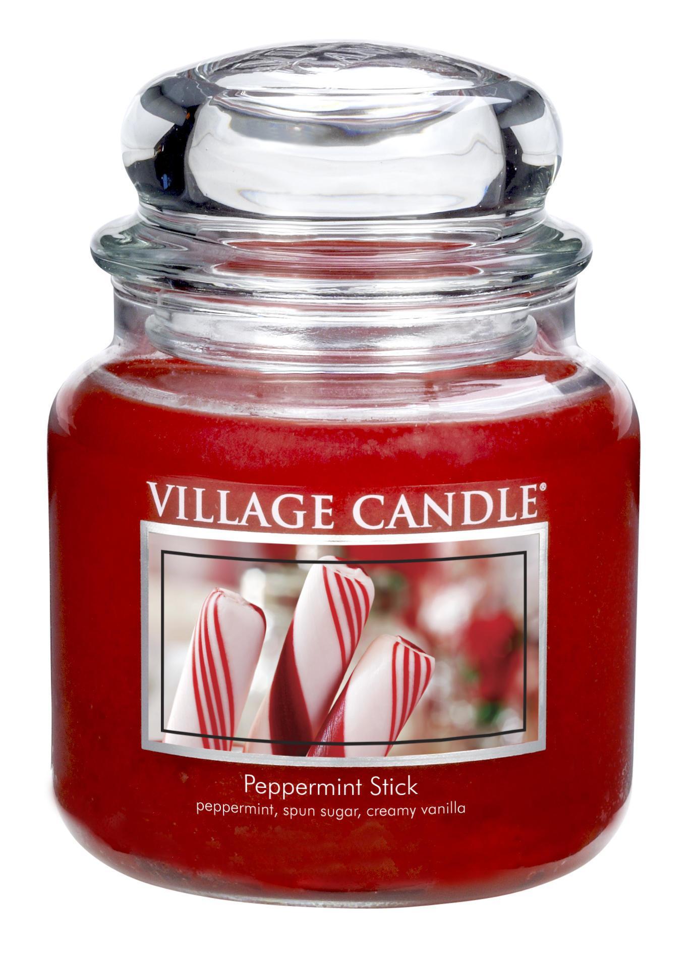 VILLAGE CANDLE Svíčka ve skle Peppermint Stick - střední, červená barva, sklo, vosk