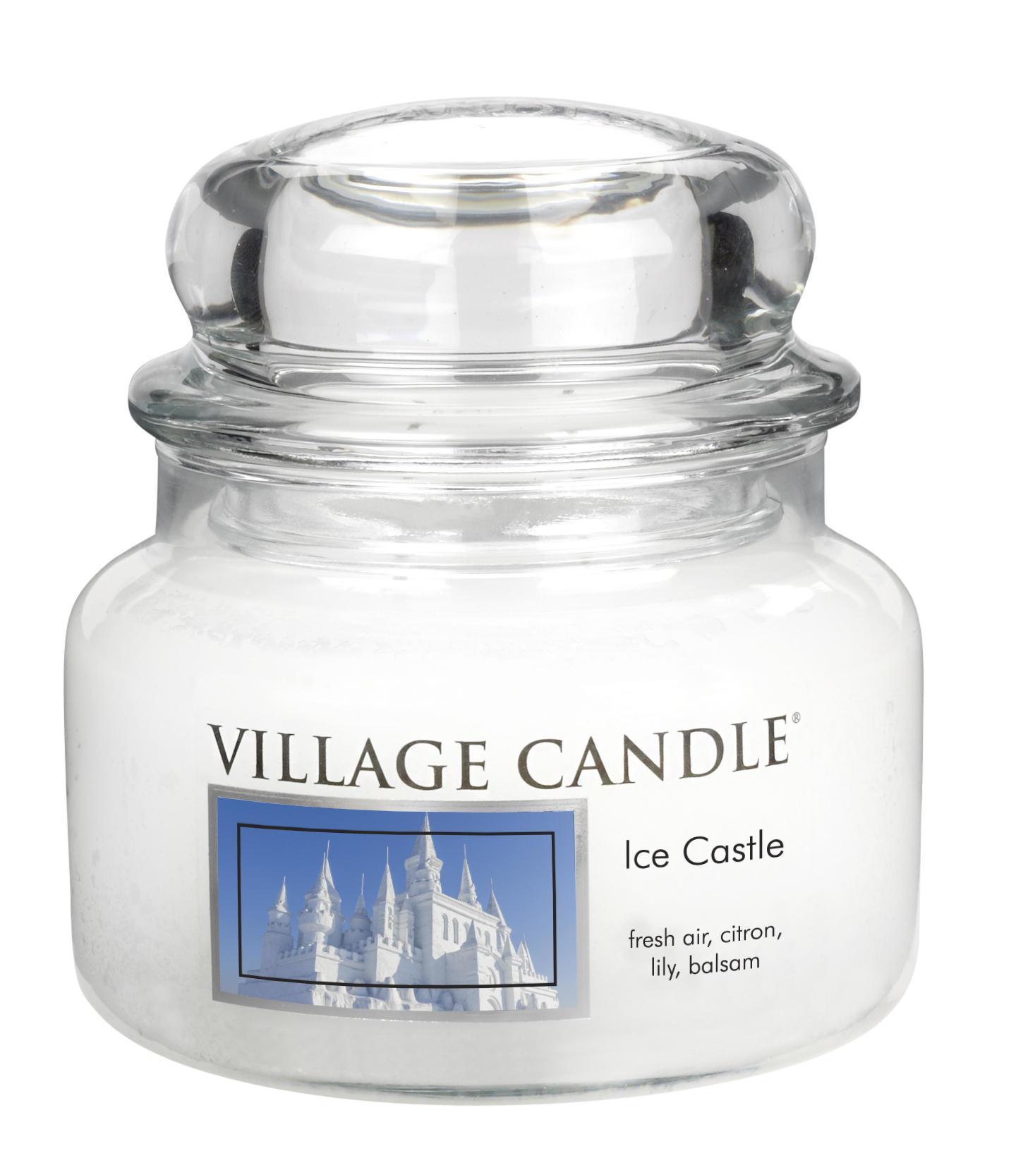 Village Candle Svíčka ve skle Ice Castle - malá, bílá barva, sklo, vosk
