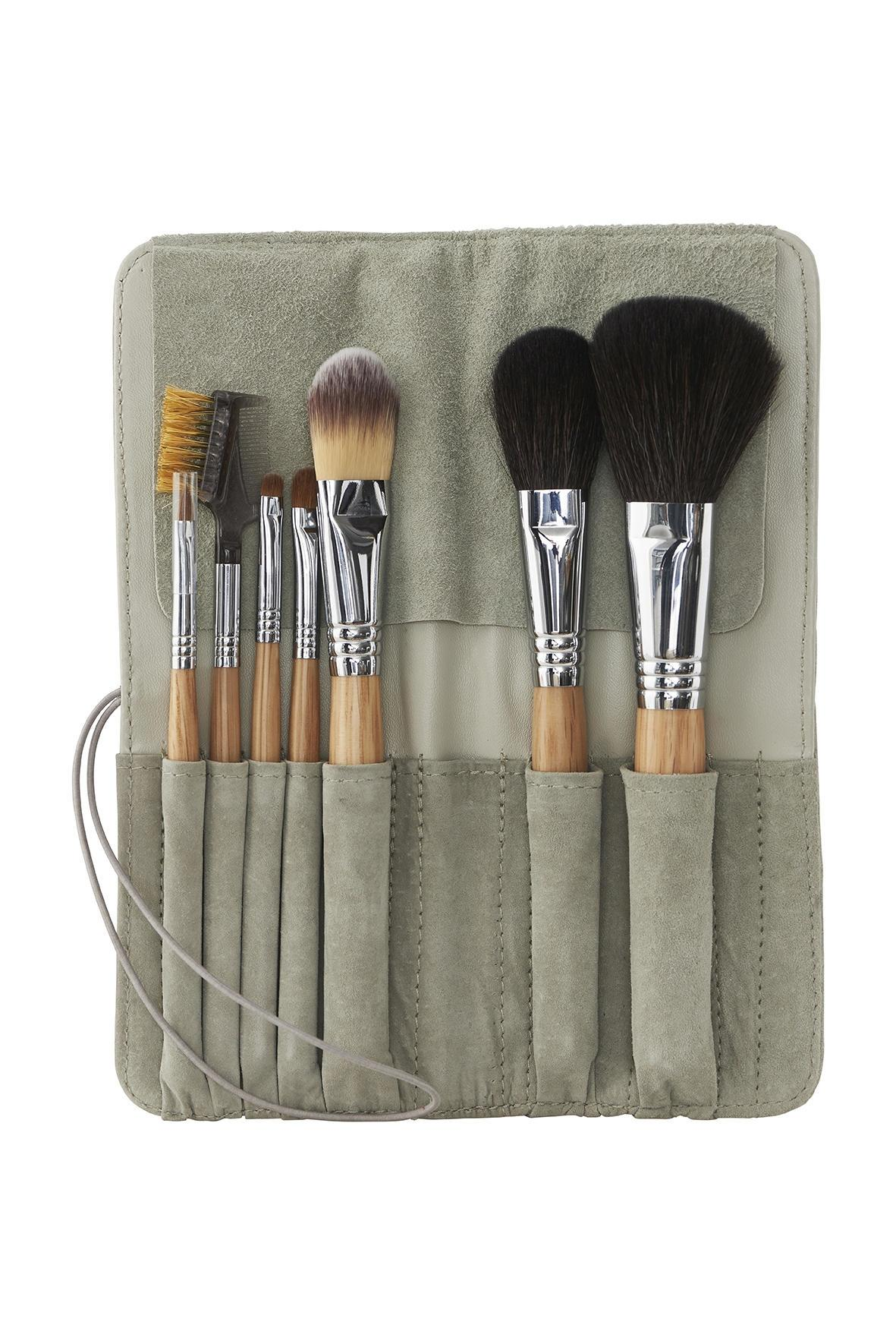 meraki Sada kosmetických štětců Meraki - 7 ks, šedá barva, hnědá barva, dřevo, textil