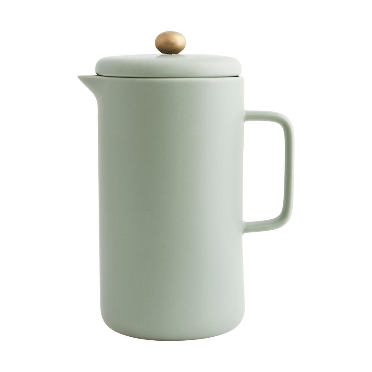 House Doctor Ruční presovač na kávu POT, zelená barva, šedá barva, kov, porcelán