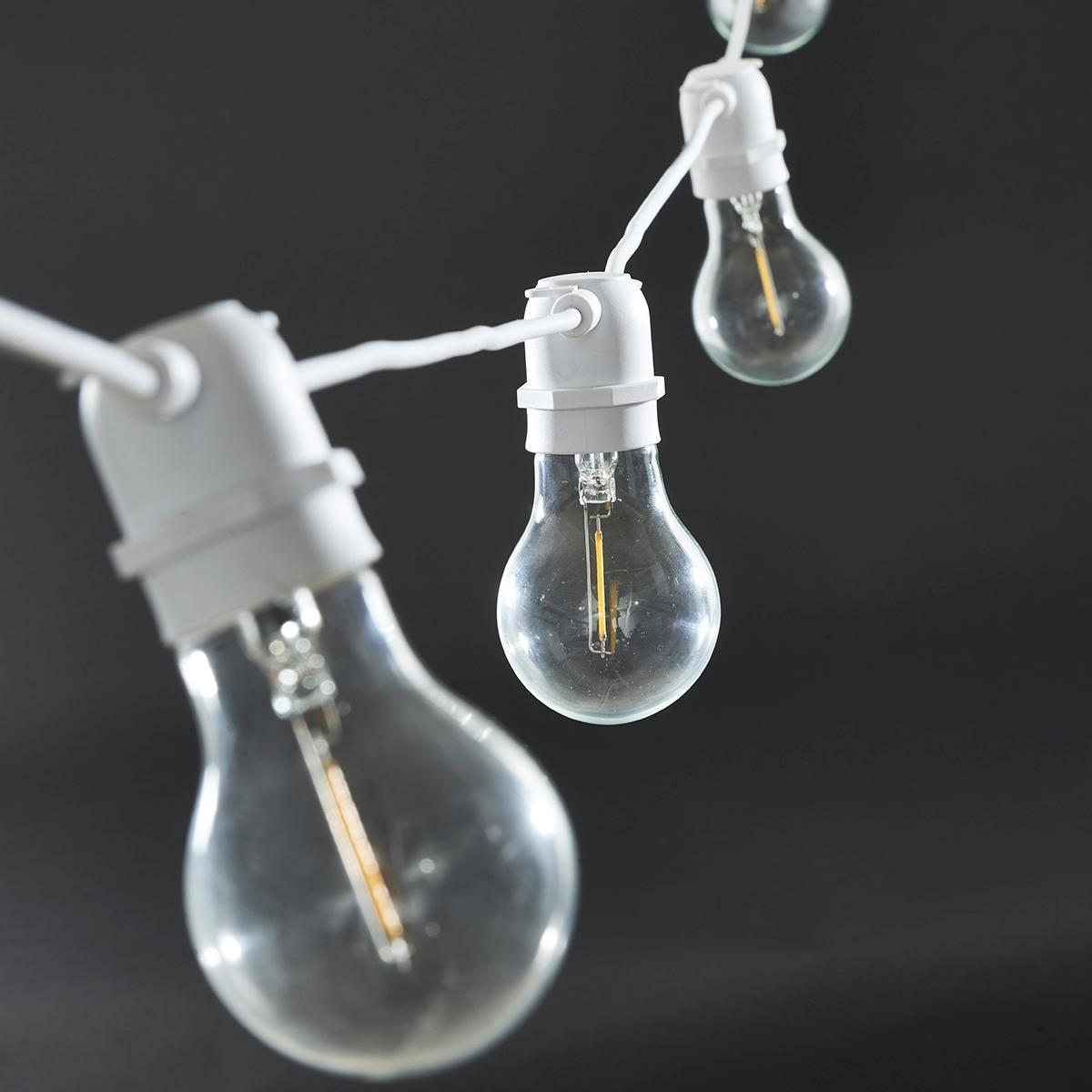 House Doctor Světelný řetěz s 10ti LED žárovkami - white 8,4m, bílá barva, čirá barva, sklo, plast