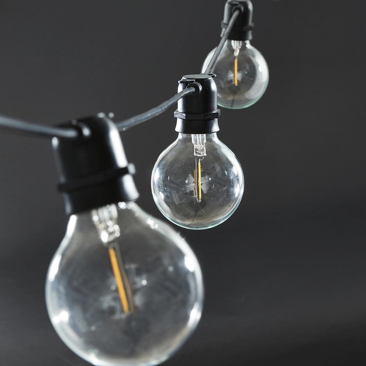 House Doctor Světelný řetěz s 10ti LED žárovkami - black 10,2m, černá barva, čirá barva, sklo, plast