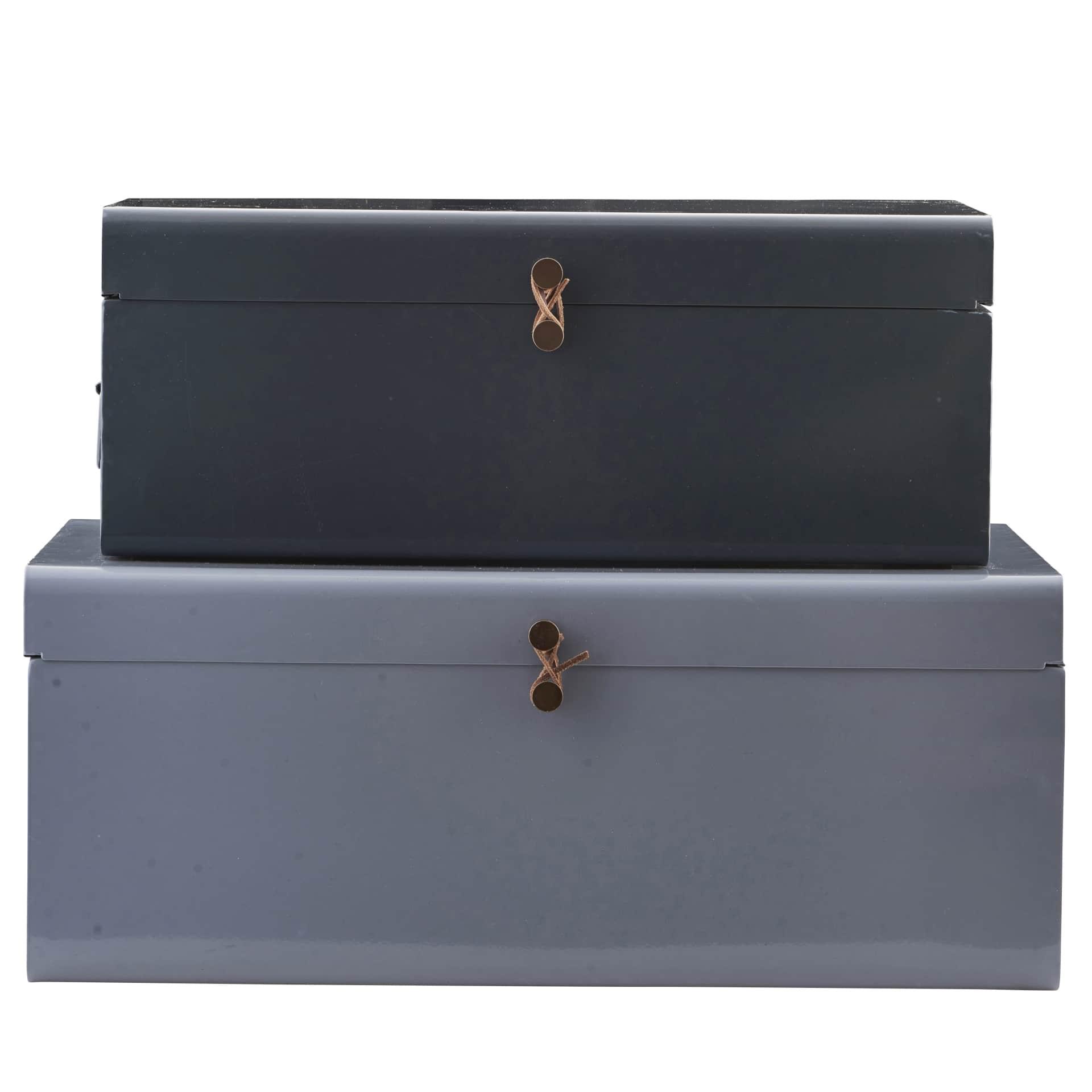 House Doctor Kovový box Metal Blue/Grey Větší, modrá barva, šedá barva, kov