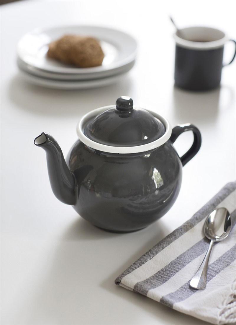 Garden Trading Smaltovaná čajová konvice Charcoal 1 l, šedá barva, kov