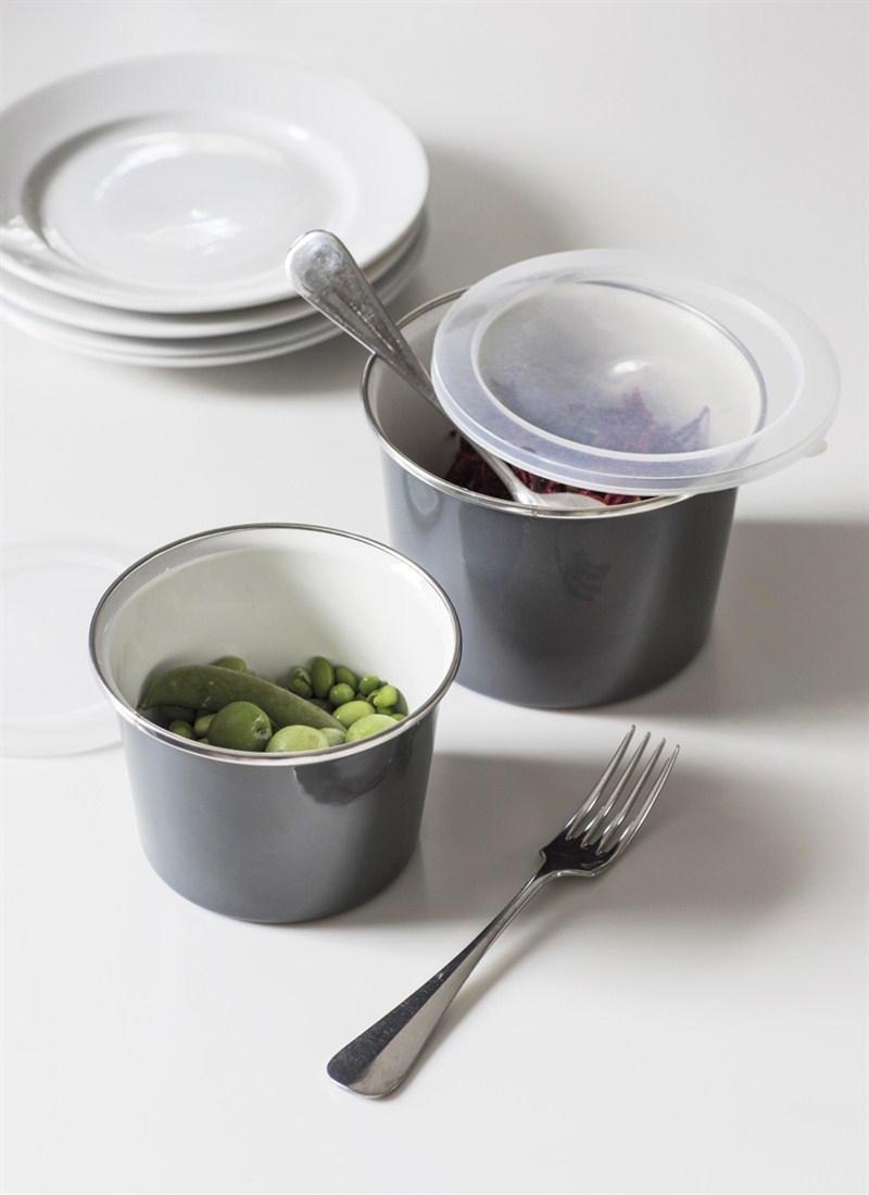 Garden Trading Smaltovaná dózička Charcoal - set 2 ks, šedá barva, kov