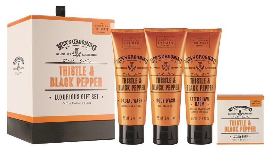 SCOTTISH FINE SOAPS Luxusní dárková sada kosmetiky pro pány Thistle & Black pepper, oranžová barva, plast, papír