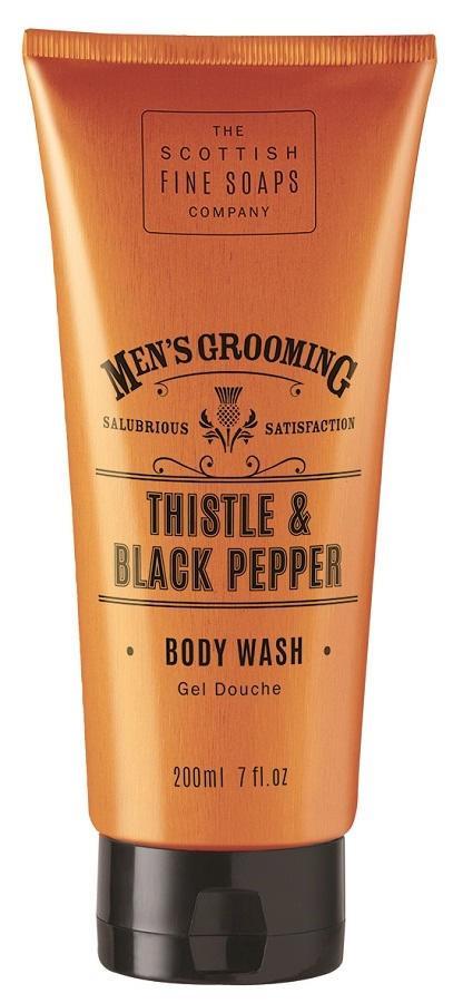 SCOTTISH FINE SOAPS Pánský sprchový gel Thistle & Black pepper 200 ml, oranžová barva, plast