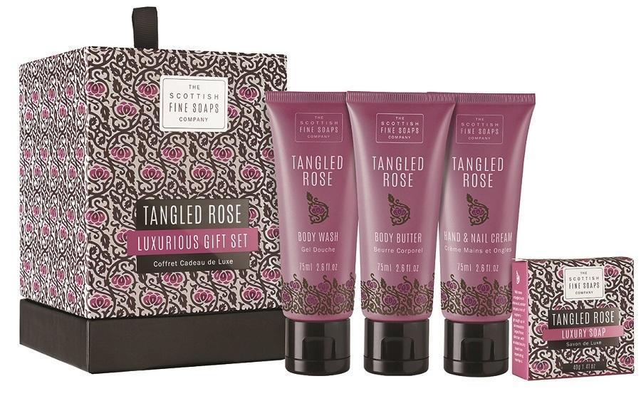 SCOTTISH FINE SOAPS Luxusní dárková sada kosmetiky Tangled Rose, růžová barva, fialová barva, černá barva, plast, papír