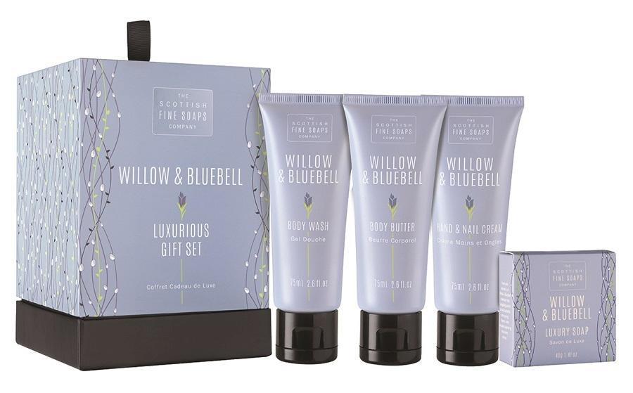 SCOTTISH FINE SOAPS Luxusní dárková sada kosmetiky Willow & Bluebell, modrá barva, plast, papír