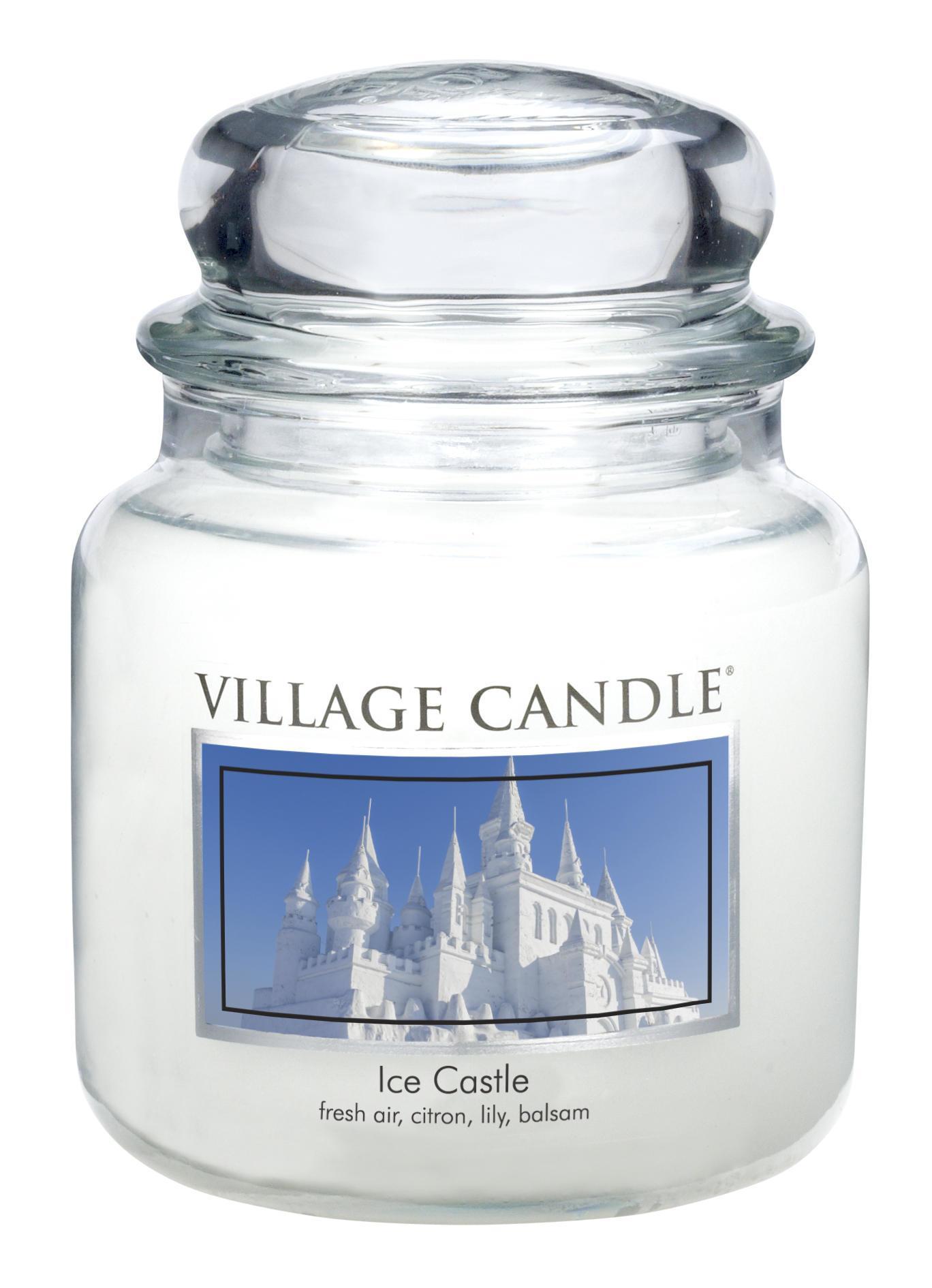 Village Candle Svíčka ve skle Ice Castle - střední, bílá barva, sklo, vosk
