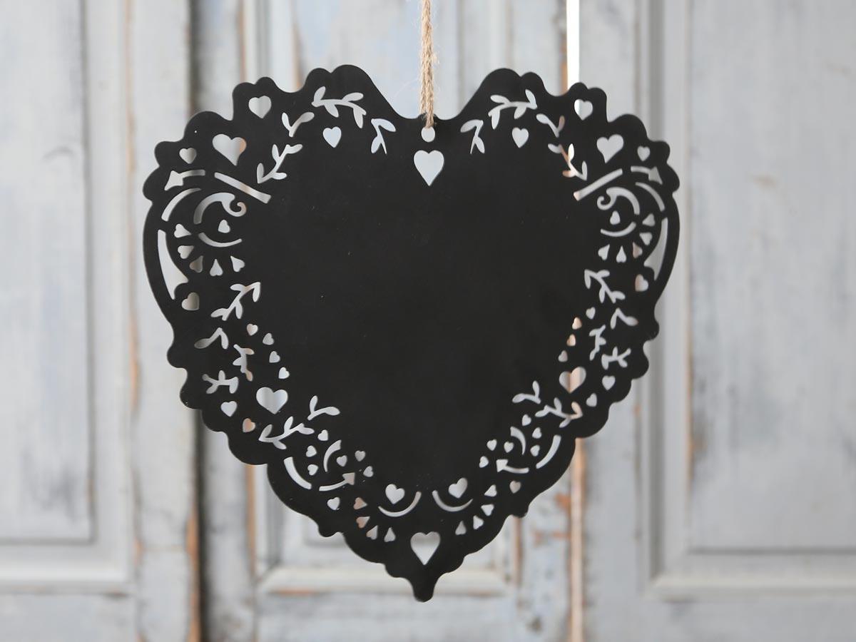 Chic Antique Závěsné popisovací srdce Black