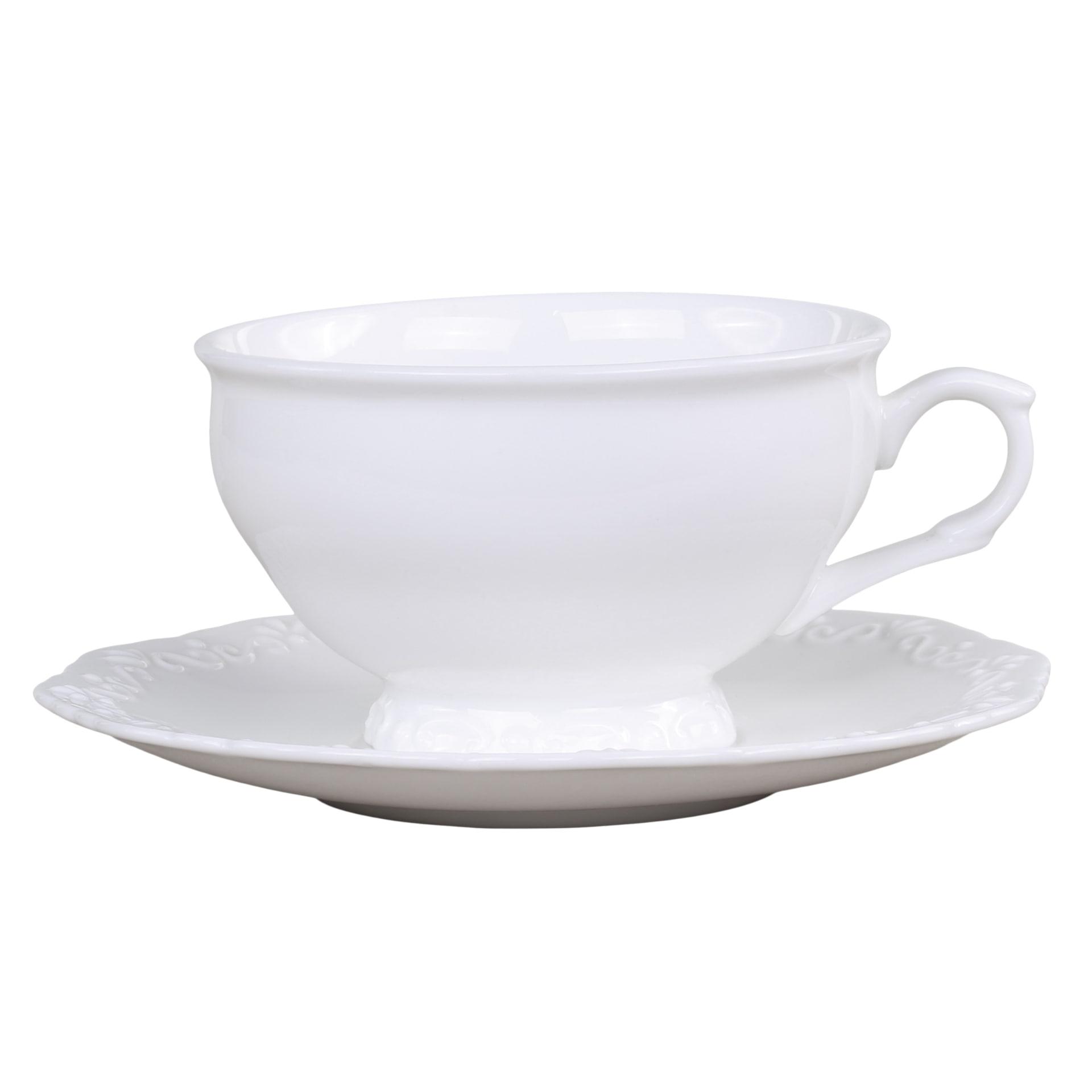 Chic Antique Porcelánový šálek s podšálkem Provence, bílá barva, porcelán