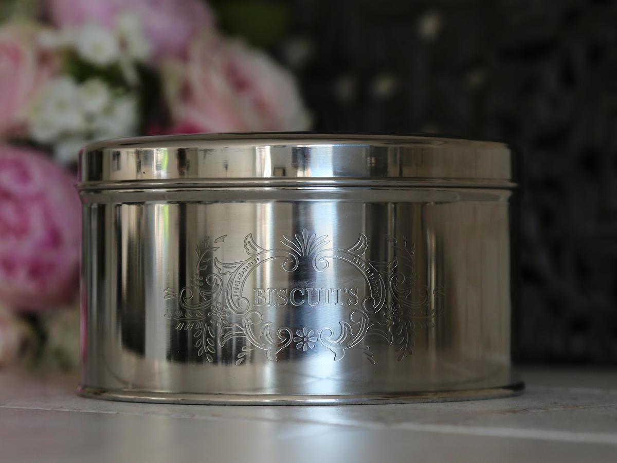 Chic Antique Kovová dóza Biscuits Antique silver, stříbrná barva, kov
