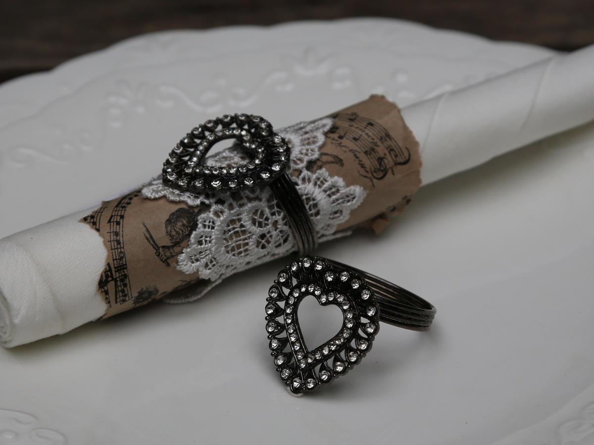 Chic Antique Kroužek na ubrousky Heart, černá barva, stříbrná barva, kov