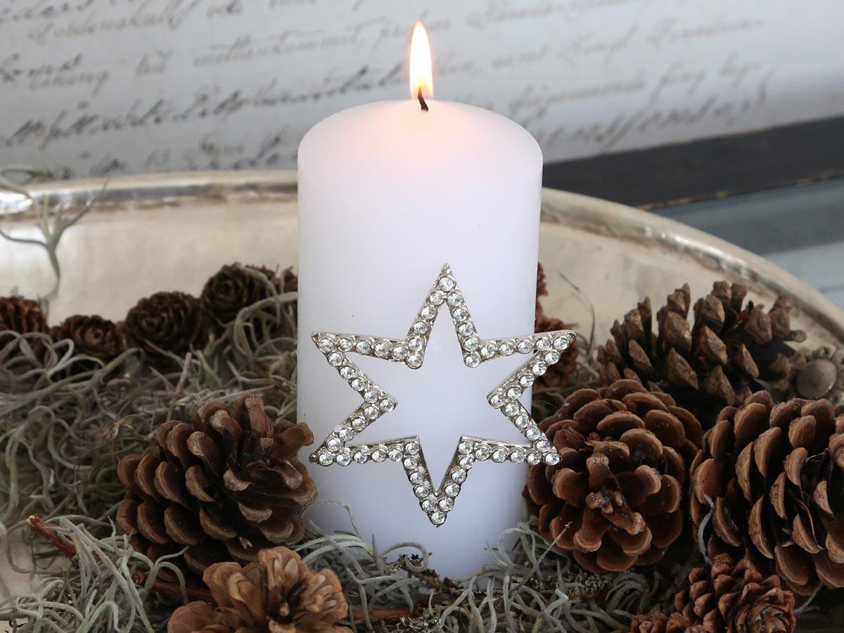 Chic Antique Zapichovací ozdoba na svíčku Star, stříbrná barva, kov