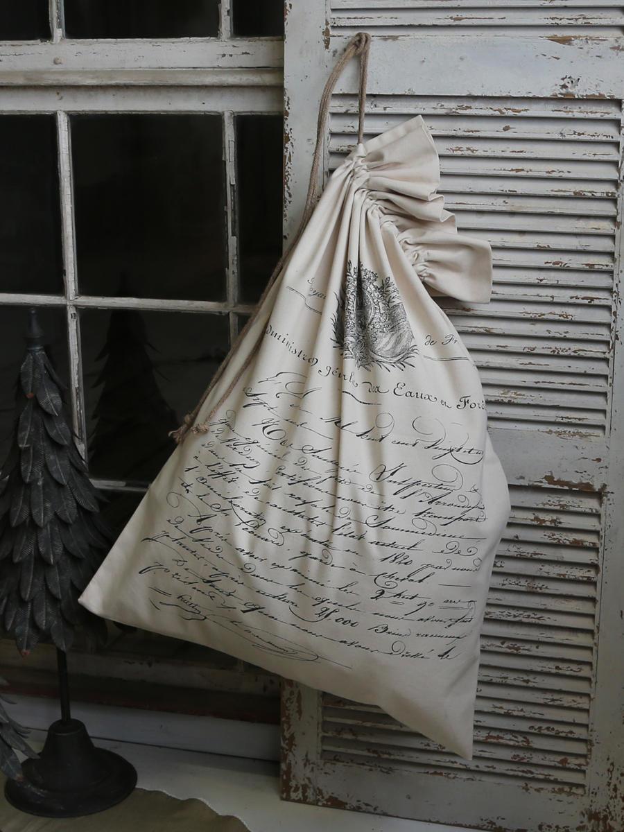 Chic Antique Plátěný pytel French mail, béžová barva, textil