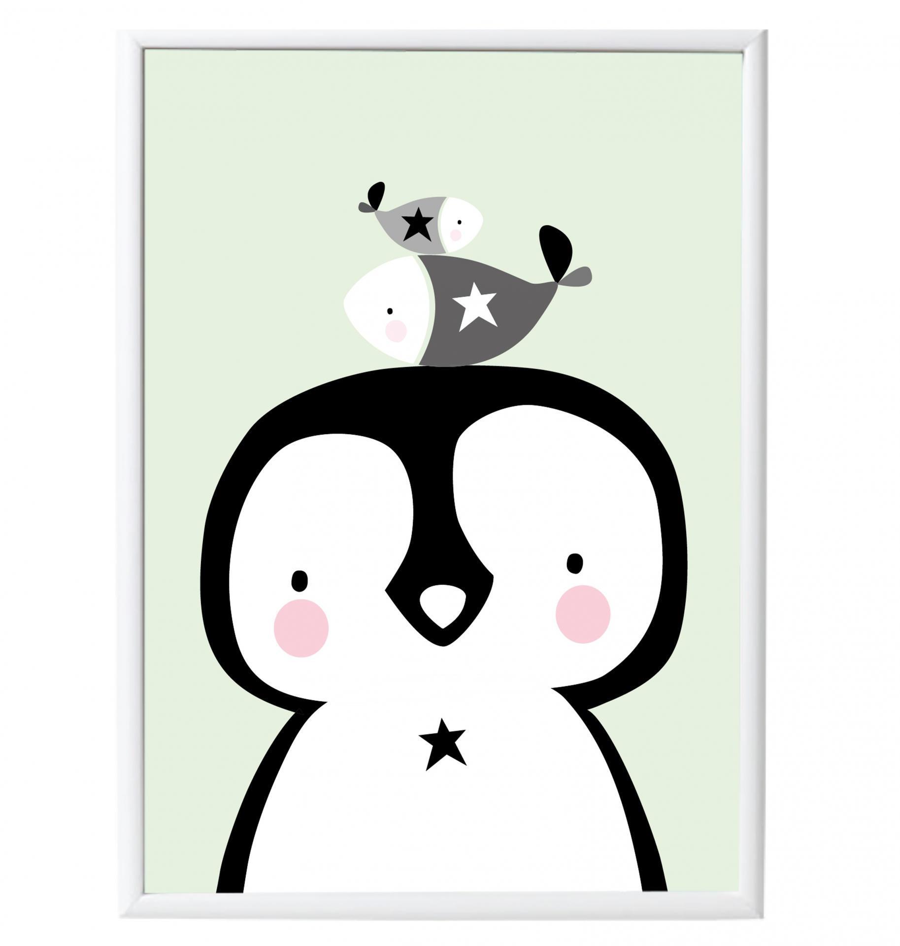 A Little Lovely Company Dětský plakát Penguin & co. 50x70 cm, zelená barva, papír