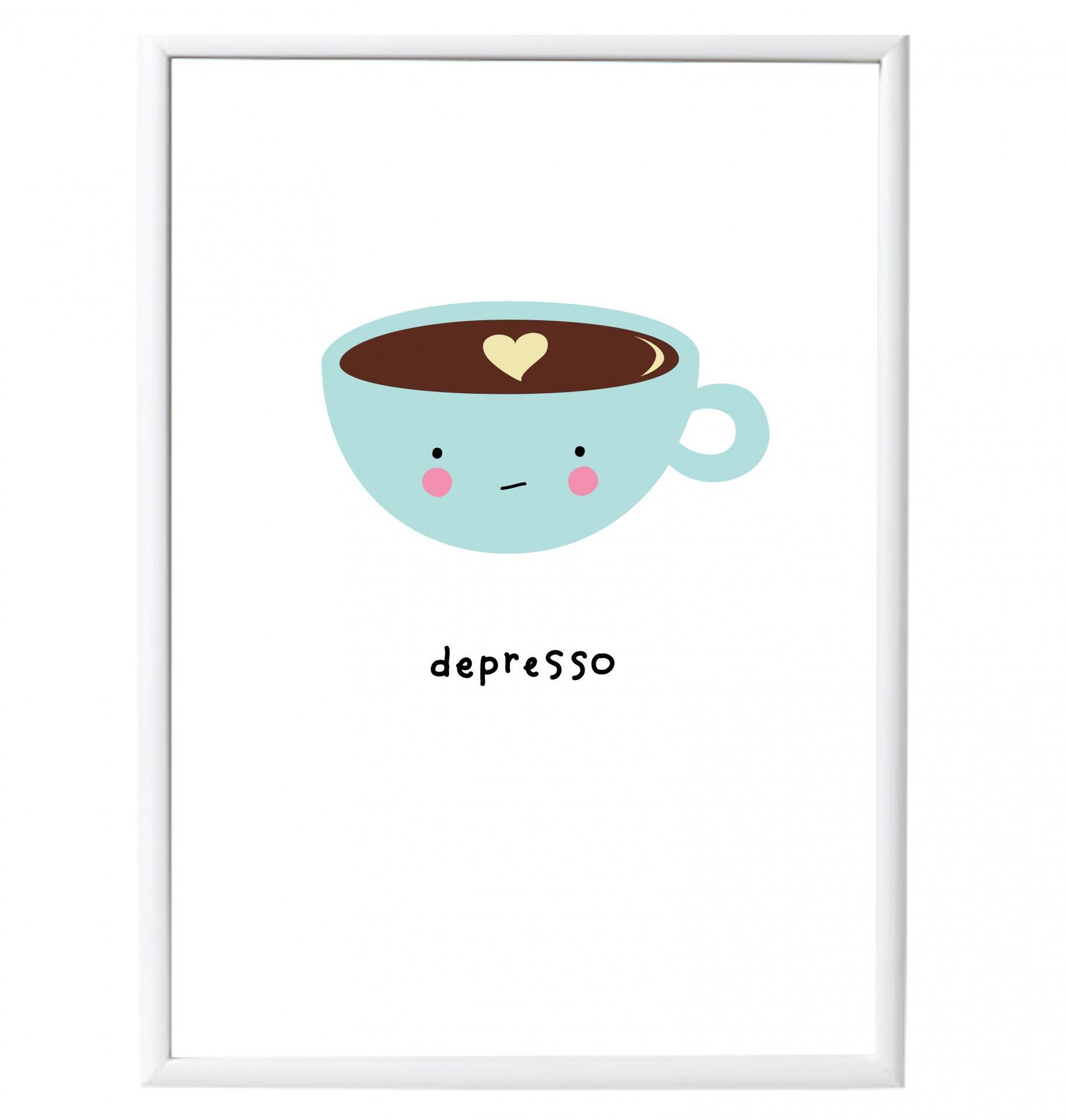 A Little Lovely Company Plakát Depresso A3, zelená barva, bílá barva, papír