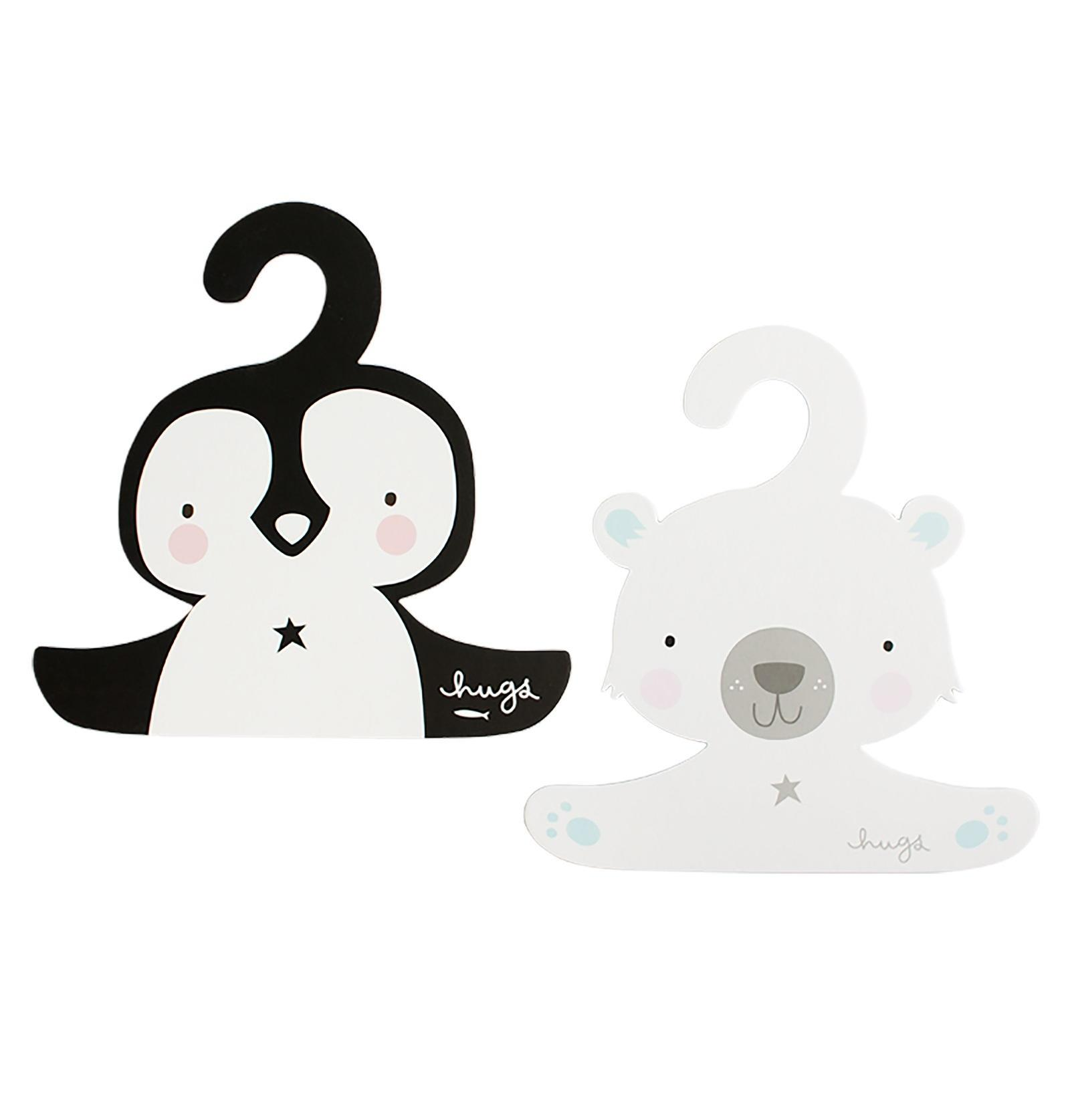 A Little Lovely Company Dětské ramínko na šaty Penguin & Polar bear - 2 ks, černá barva, bílá barva, dřevotříska