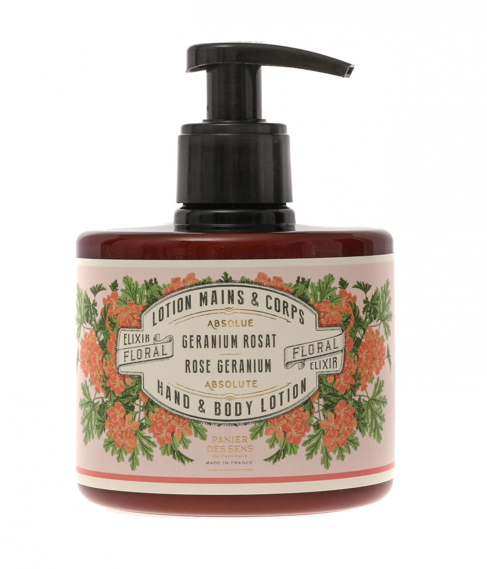 Panier des Sens Mléko na ruce a tělo Rose Geranium 300 ml, růžová barva, hnědá barva, plast