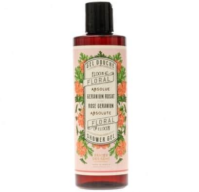 Panier des Sens Sprchový gel Rose Geranium 250 ml, růžová barva, hnědá barva, plast