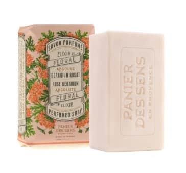 Panier des Sens Parfemované mýdlo Rose Geranium 150 g, růžová barva, krémová barva, papír