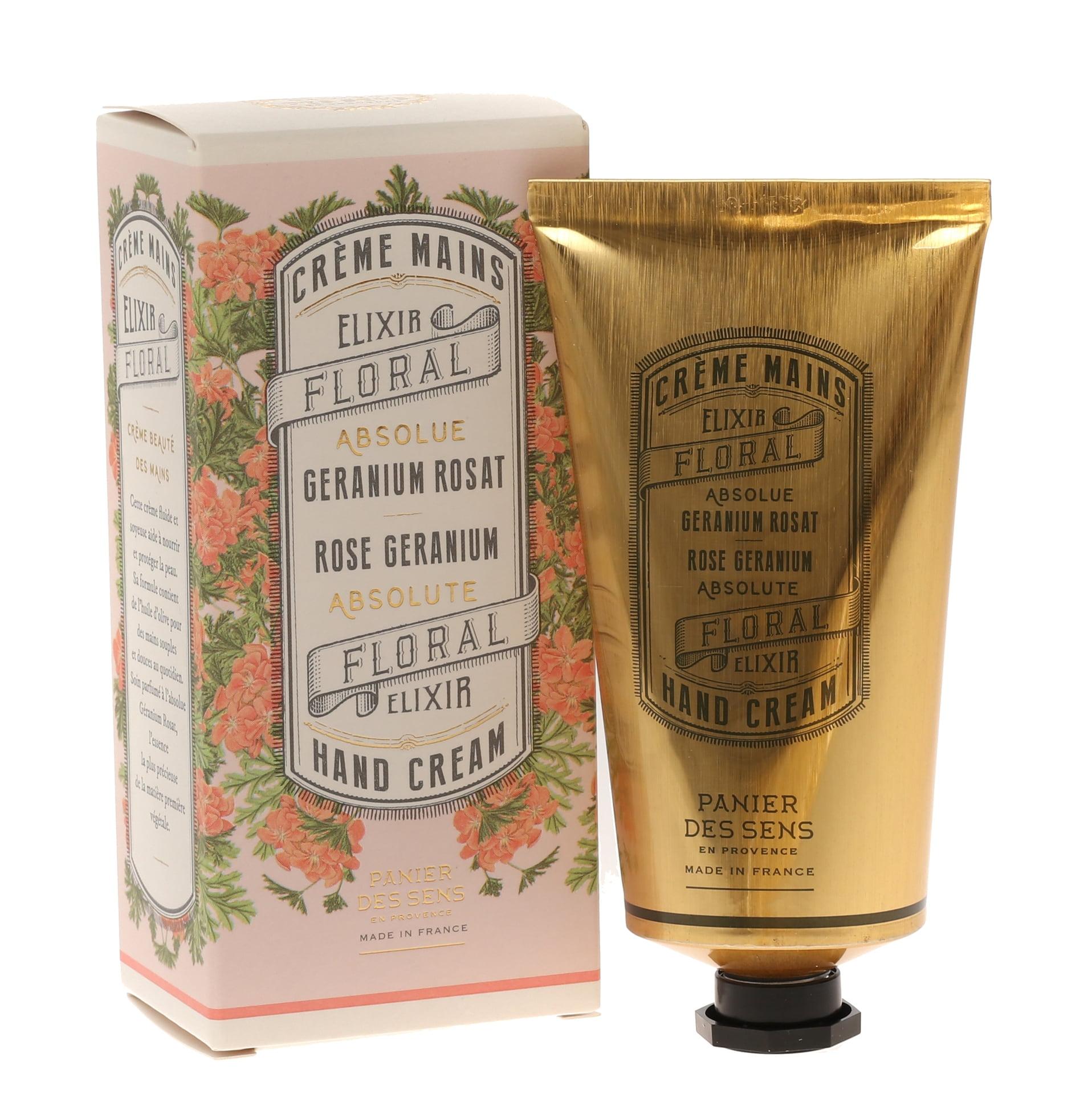 Panier des Sens Krém na ruce Rose Geranium 75 ml, růžová barva, zlatá barva, krémová barva, kov, papír