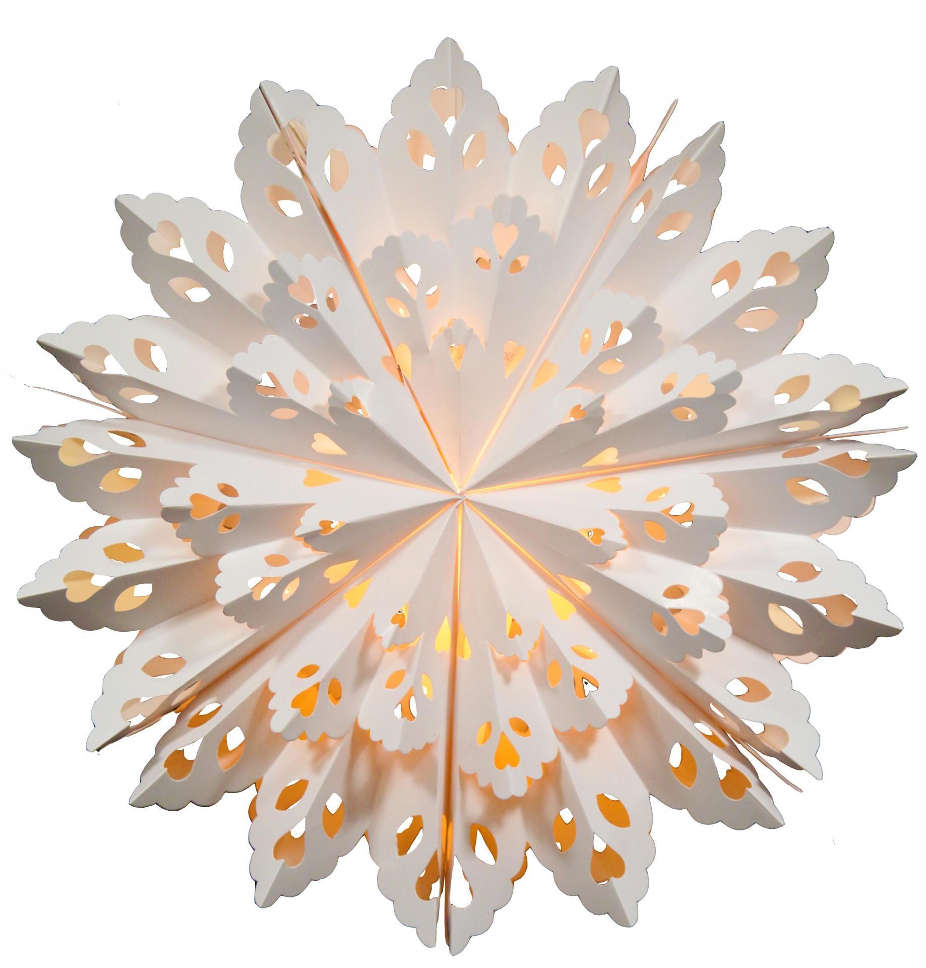 STAR TRADING Závěsná svítící hvězda Flinga White 60 cm, bílá barva, papír