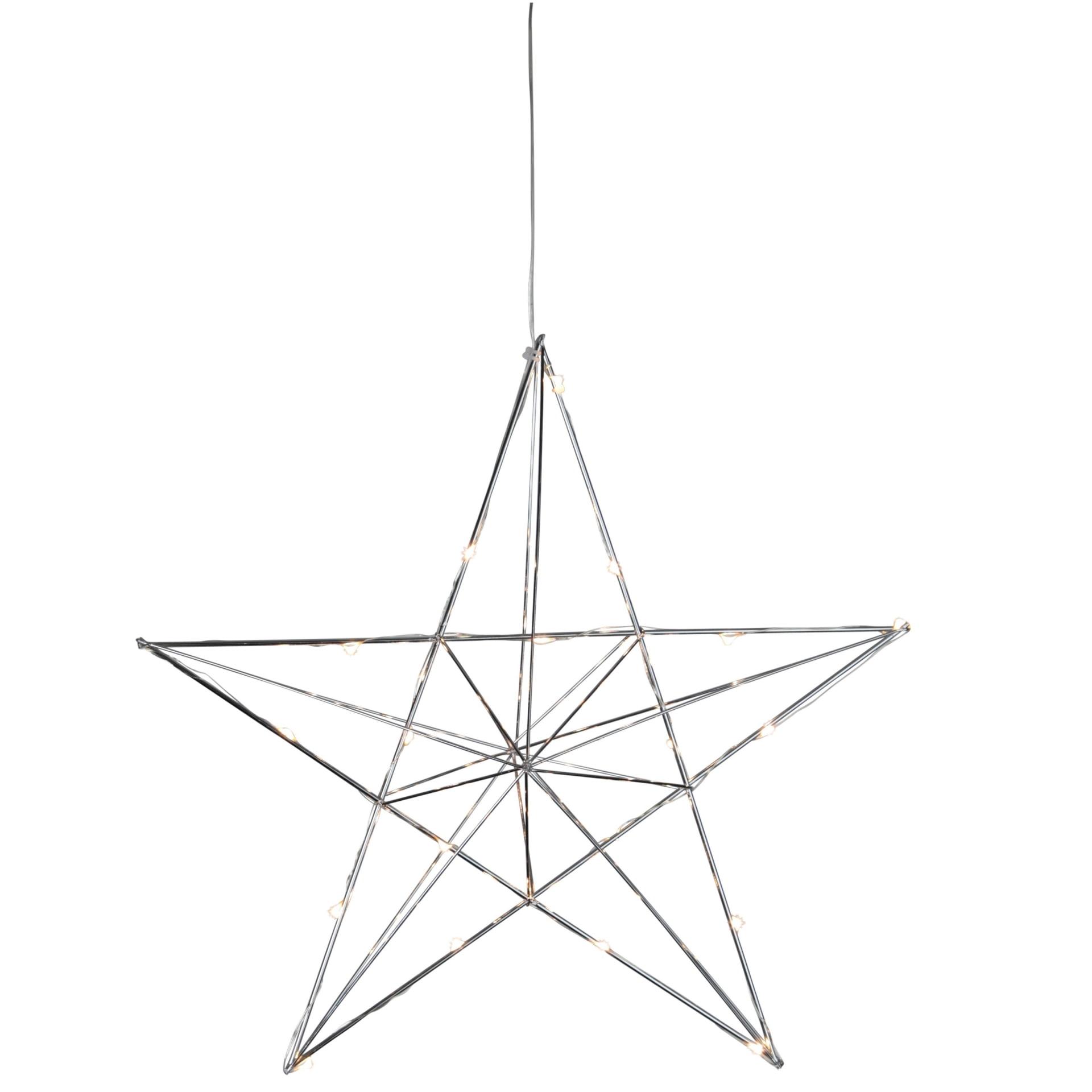 STAR TRADING Kovová svítící hvězda Line Chrome, stříbrná barva, kov