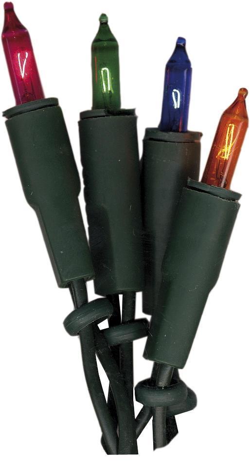 STAR TRADING Barevný světelný řetěz na vánoční stromeček 6,6 m, zelená barva, multi barva, plast