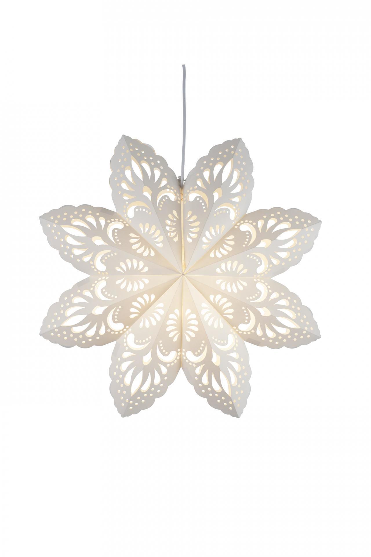STAR TRADING Závěsná svítící hvězda Lovely White 55 cm, bílá barva, papír