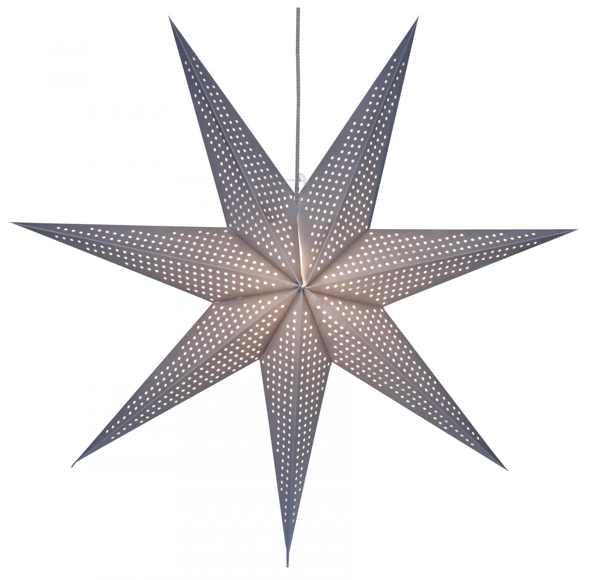 STAR TRADING Závěsná svítící hvězda Huss Grey 100 cm, šedá barva, papír
