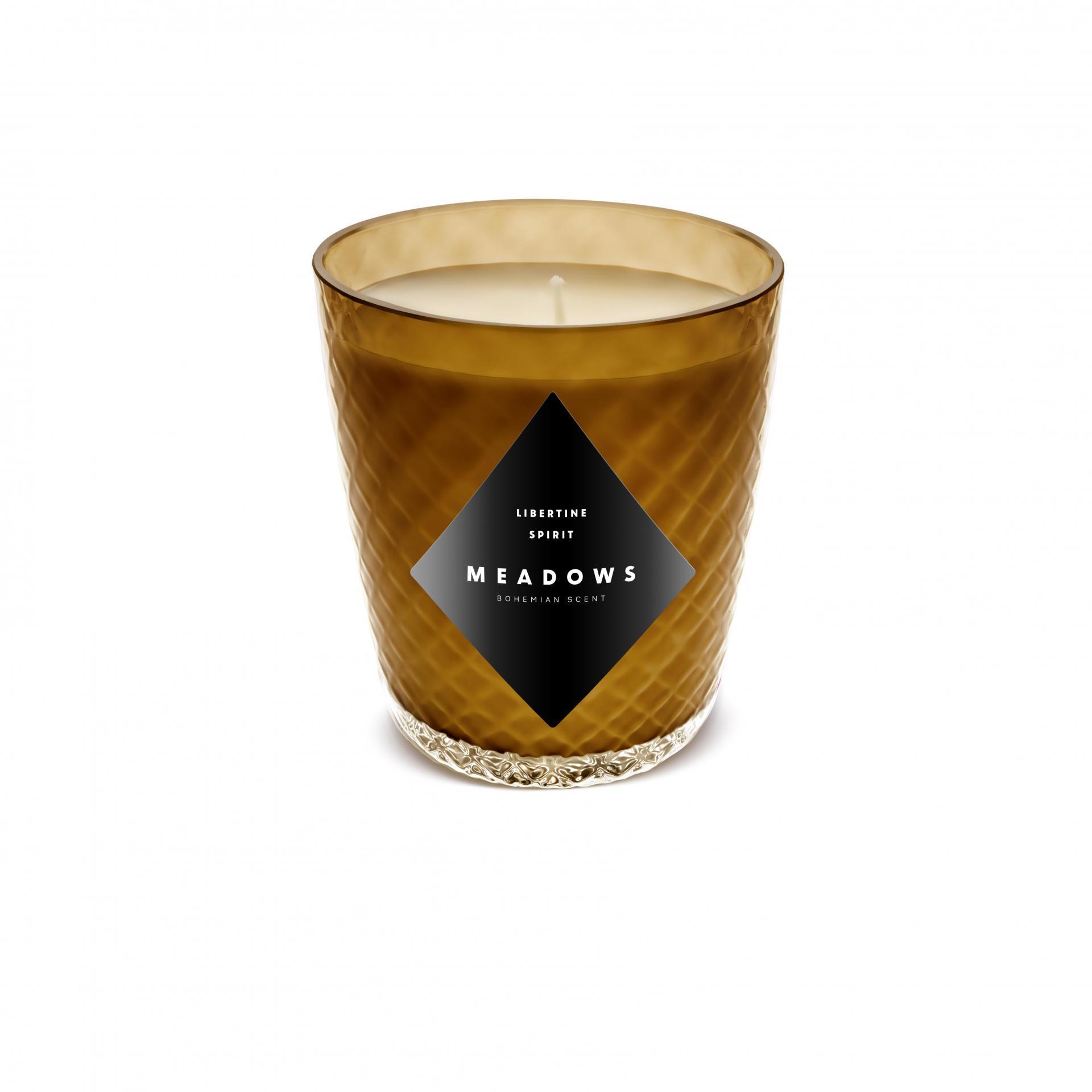 MEADOWS Luxusní vonná svíčka Libertine Spirit Mini, hnědá barva, sklo