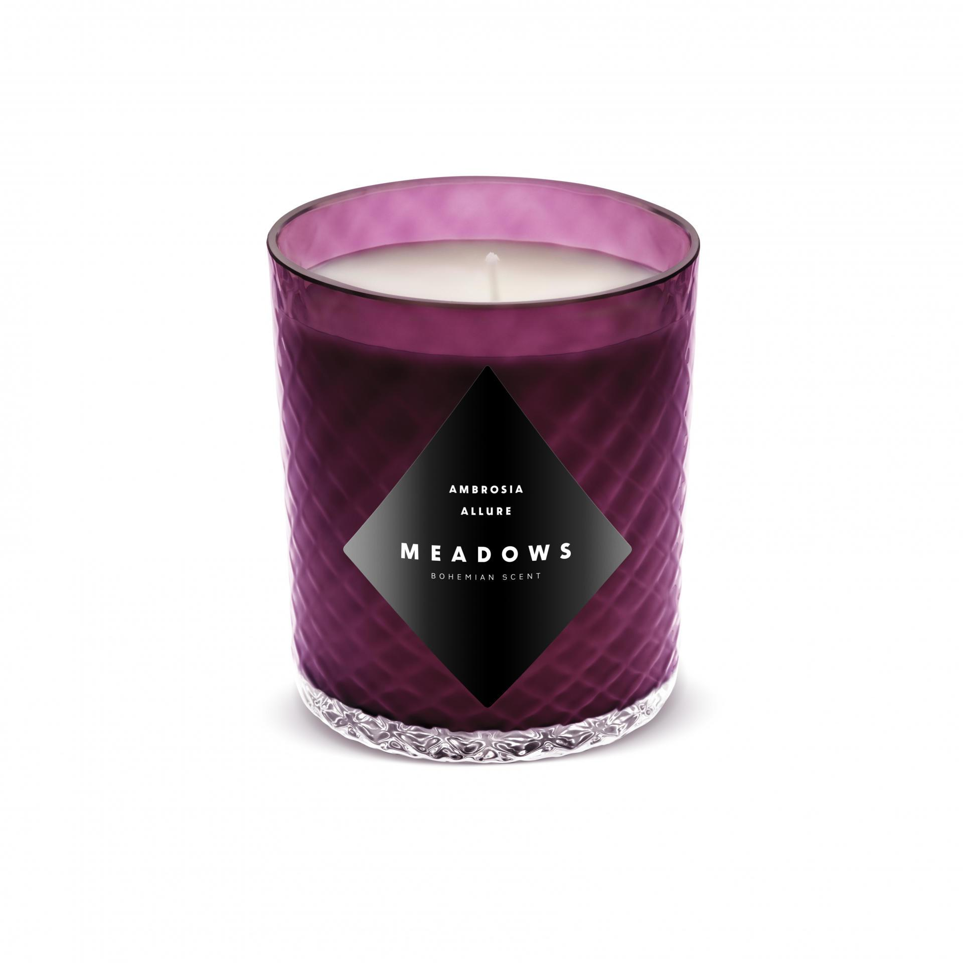 MEADOWS Luxusní vonná svíčka Ambrosia Allure, fialová barva, sklo