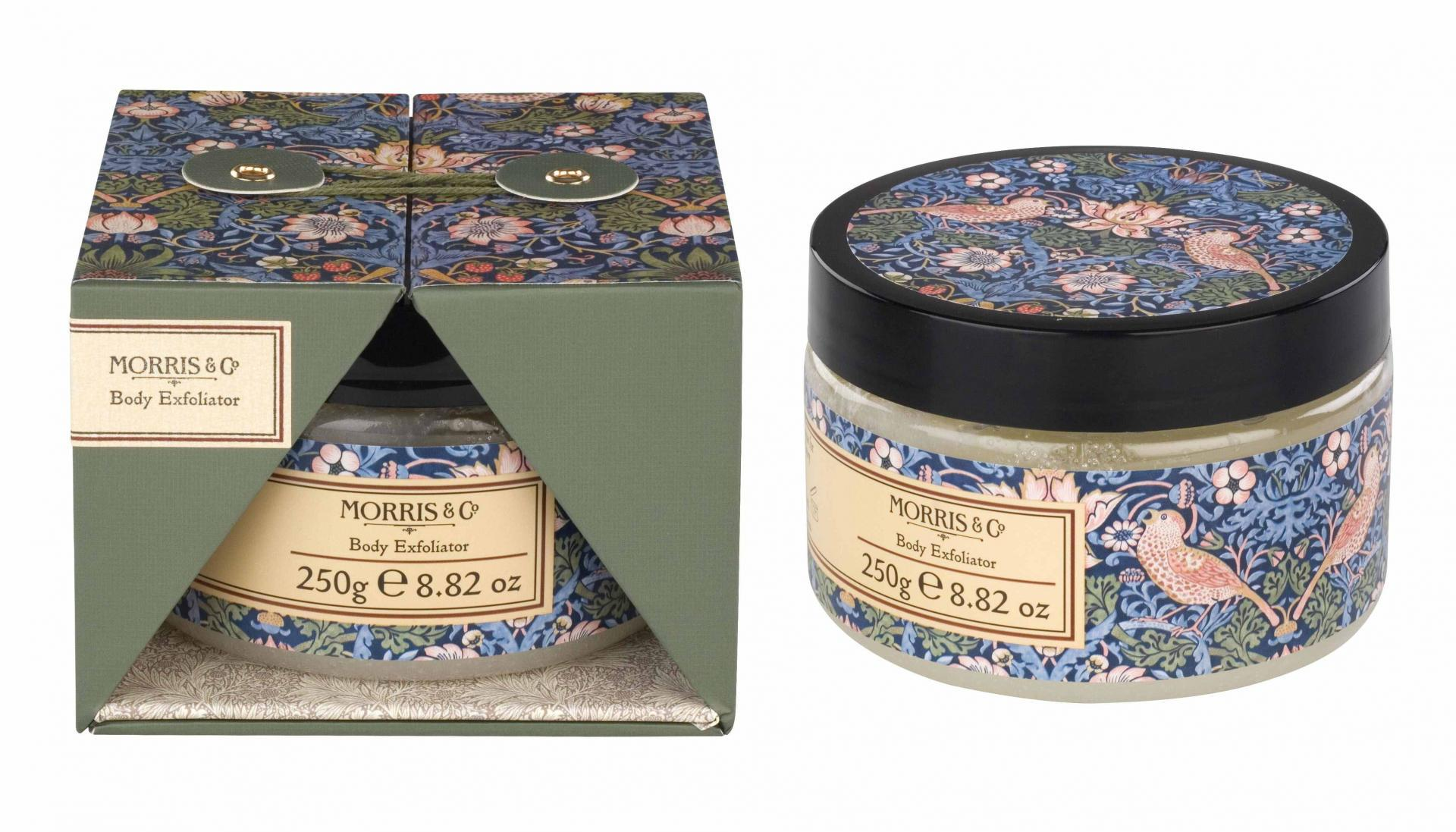 MORRIS & Co. Tělový peeling Strawberry Thief 250 ml, modrá barva, zelená barva, plast