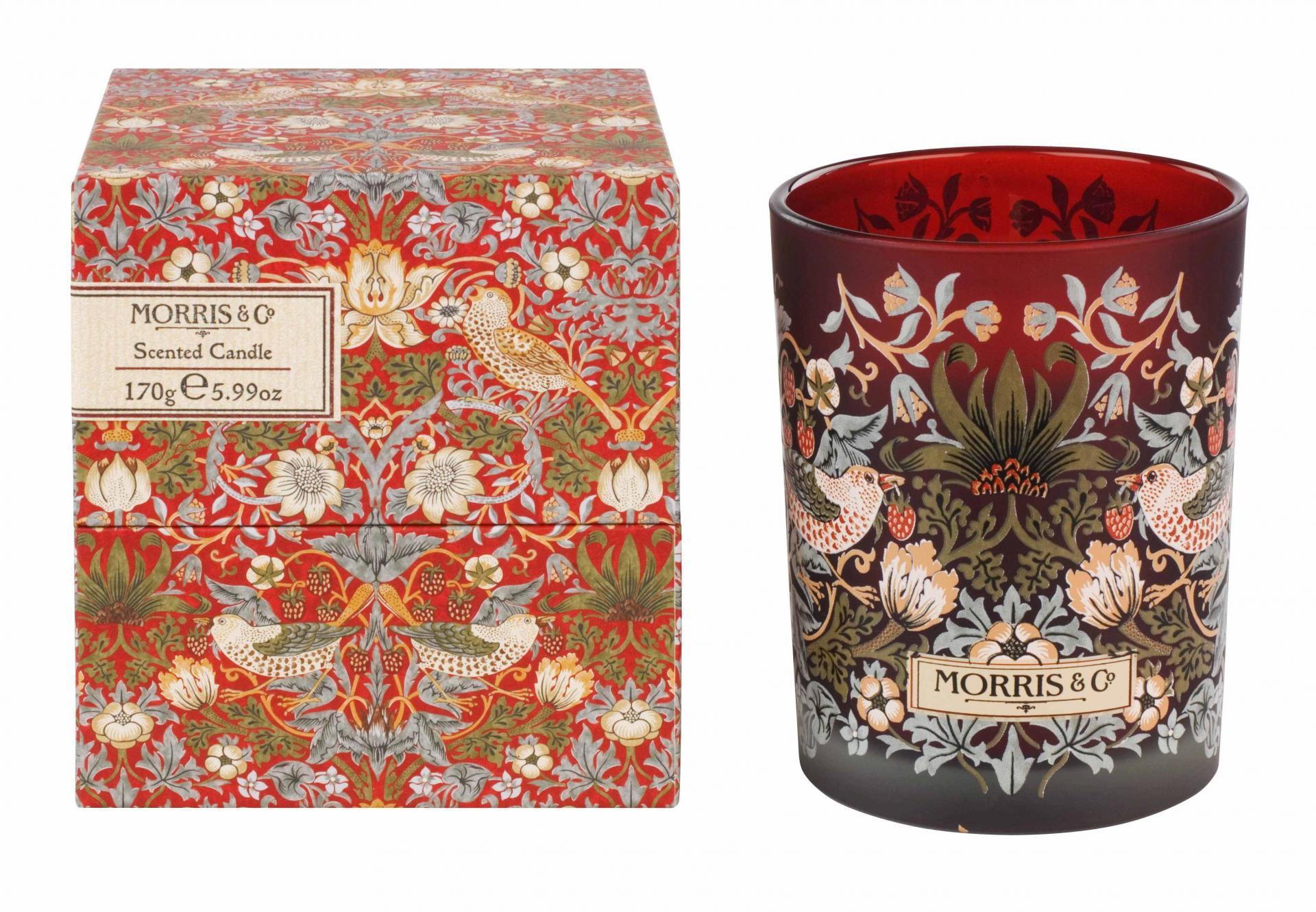 MORRIS & Co. Vonná svíčka Strawberry Thief 240 g, červená barva, sklo