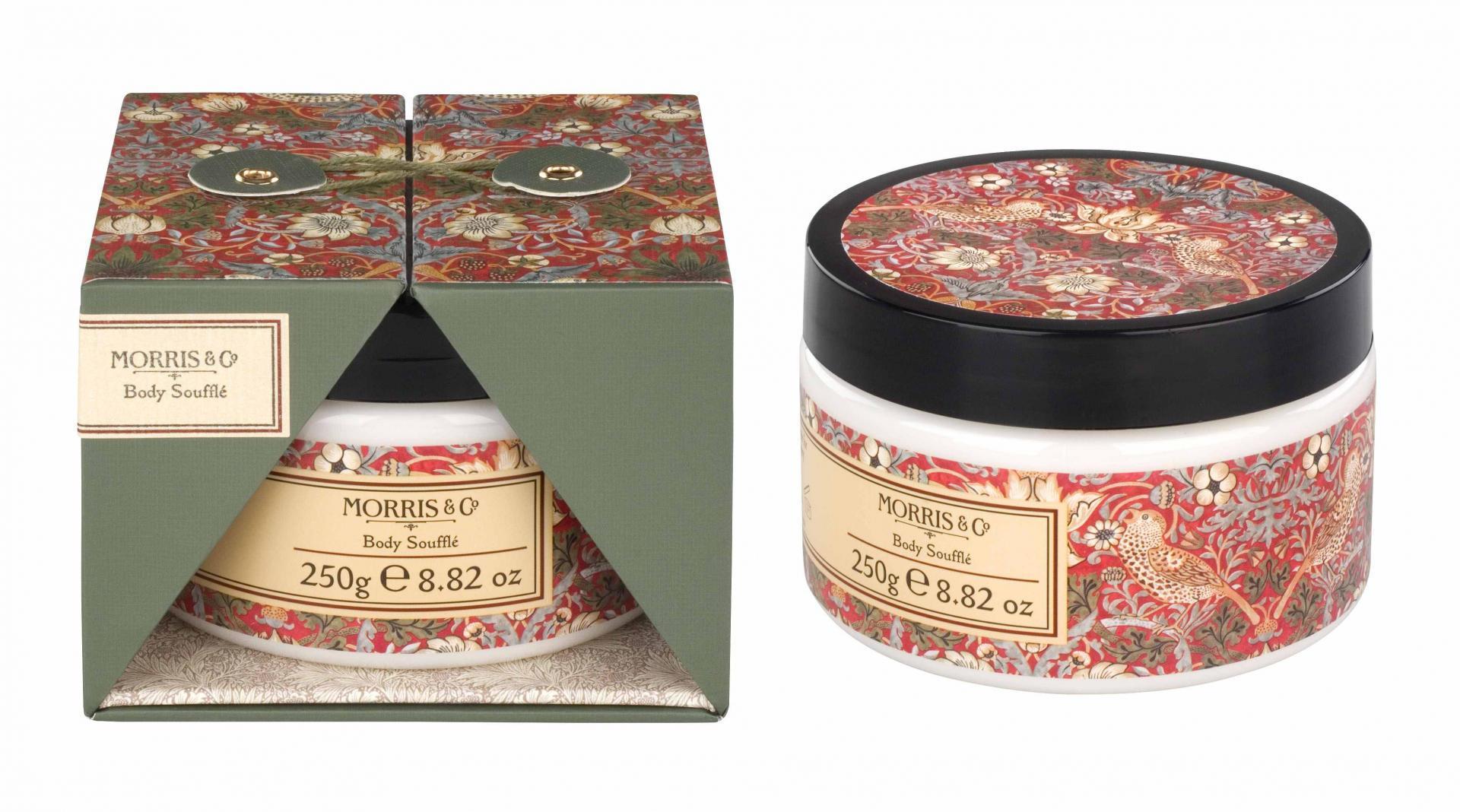 MORRIS & Co. Tělové soufflé Strawberry Thief 250 ml, červená barva, zelená barva, multi barva, plast