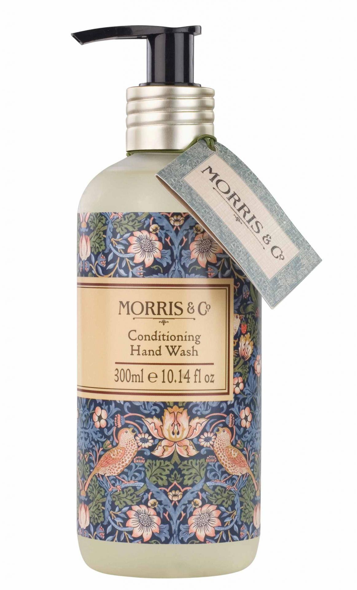 MORRIS & Co. Tekuté mýdlo na ruce Strawberry Thief 300 ml, modrá barva, zelená barva, multi barva, plast