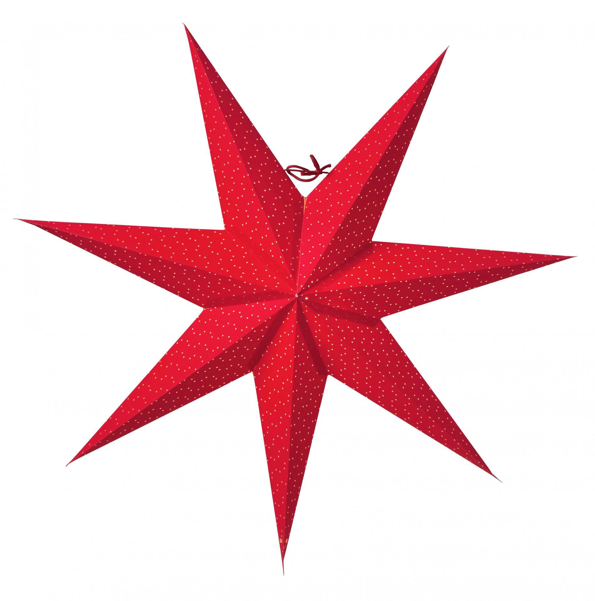 watt & VEKE Závěsná svítící hvězda Aino Red 60 cm, červená barva, papír