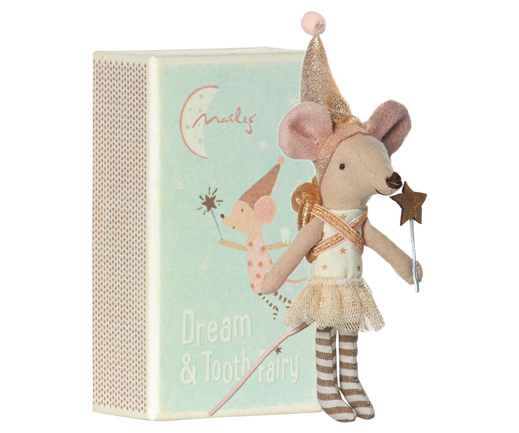 Maileg Myška v krabičce - Zoubková víla (dívka), zlatá barva, krémová barva, papír, textil