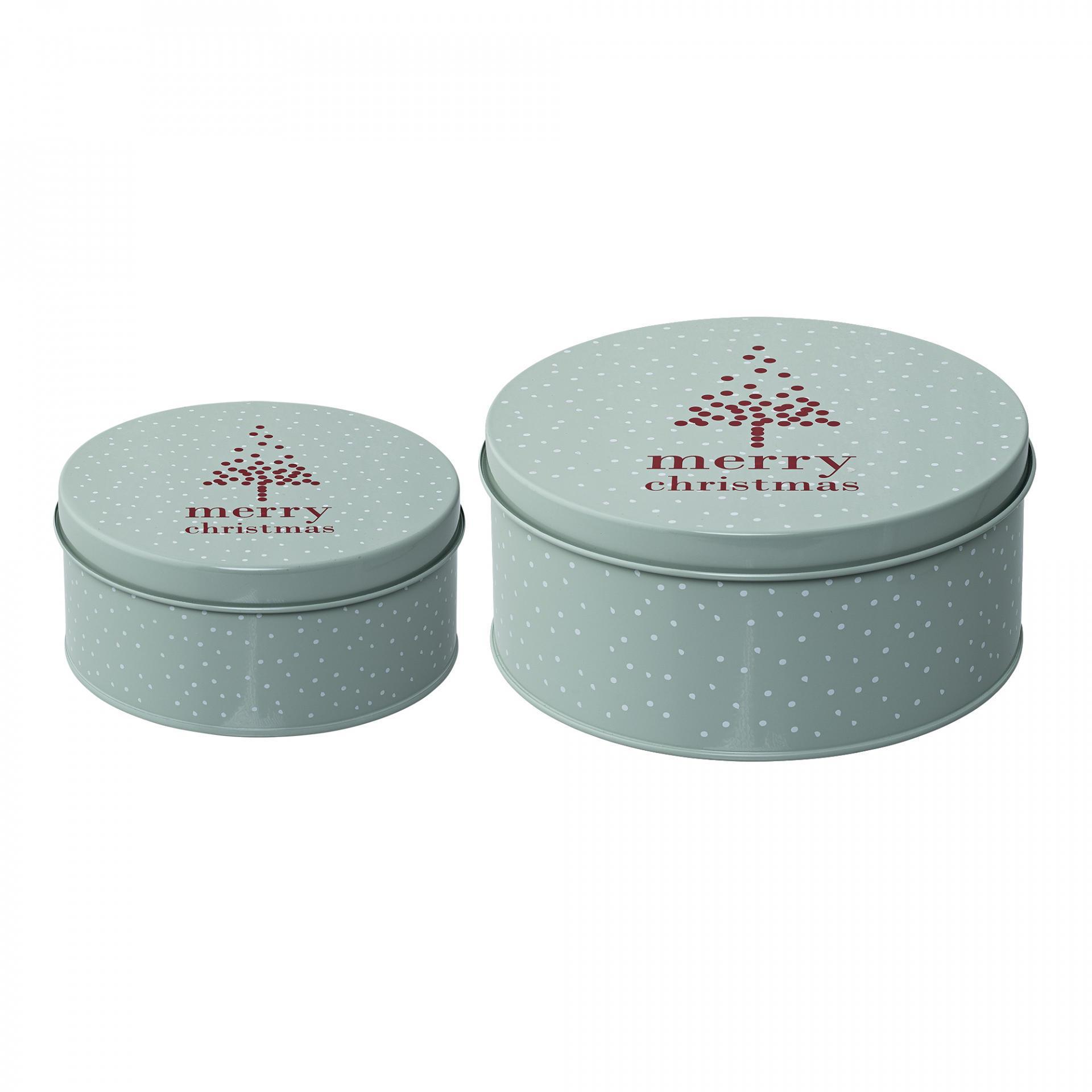 Bloomingville Plechový box na cukroví Mint Red Menší, červená barva, zelená barva, kov