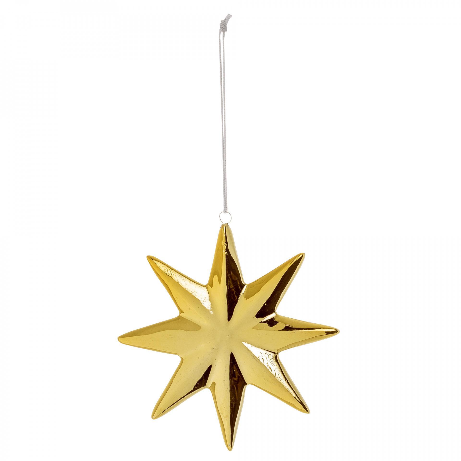 Bloomingville Vánoční ozdoba Gold Star Porcelain, zlatá barva, porcelán