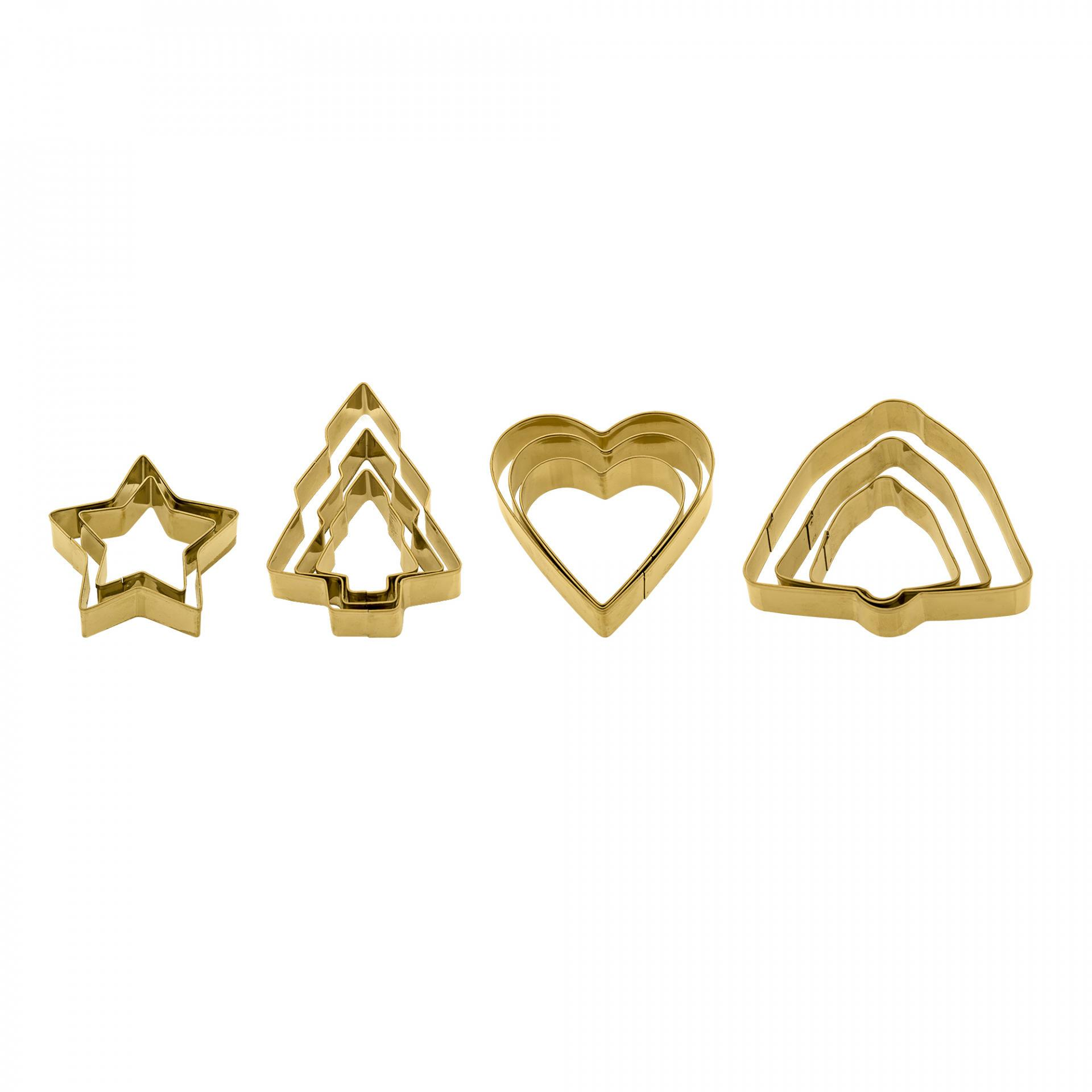 Bloomingville Vykrajovátka na cukroví v dárkovém balíčku Gold - 3 ks Zvonek, zlatá barva, kov