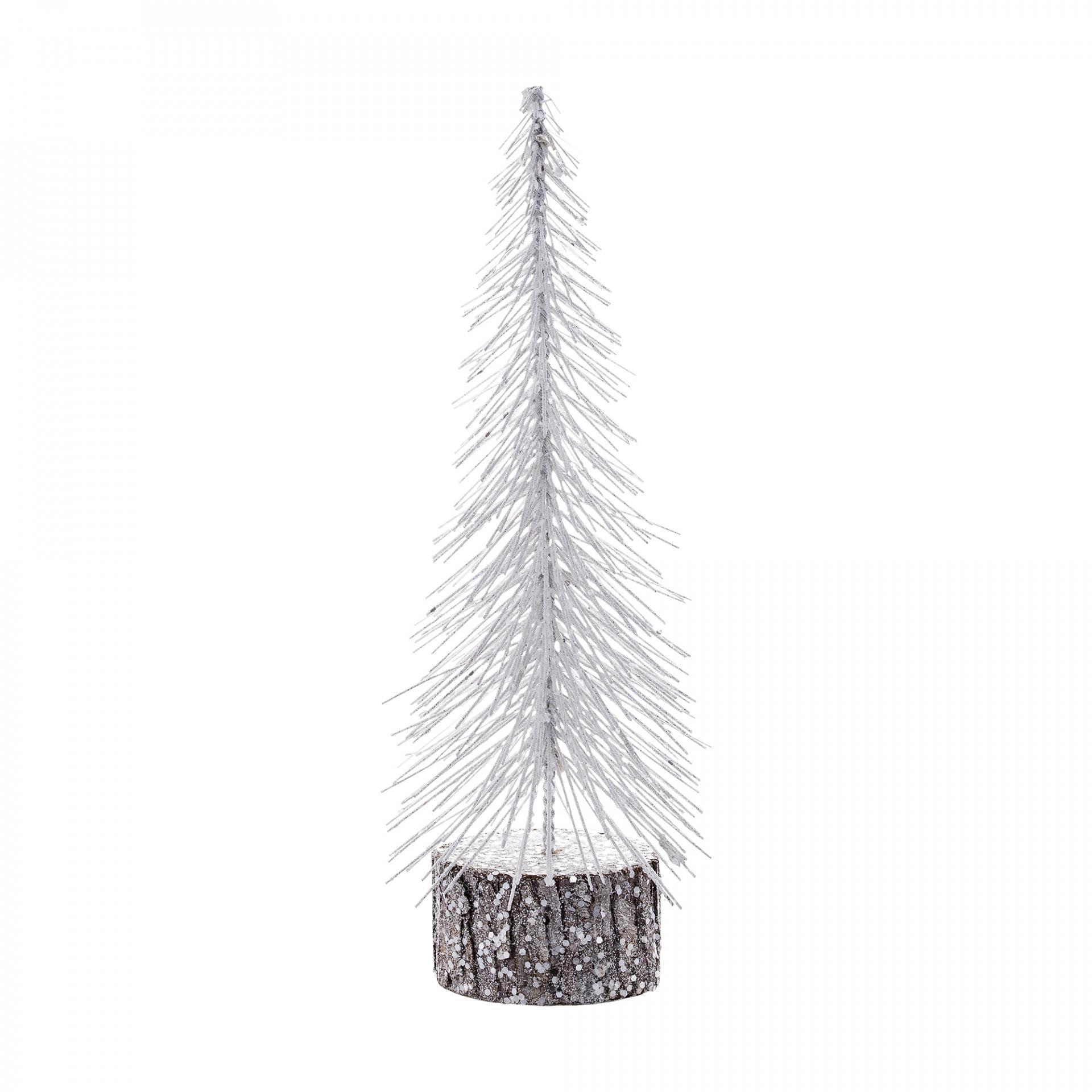 Bloomingville Dekorativní stromeček Glitter White, bílá barva, dřevo, plast