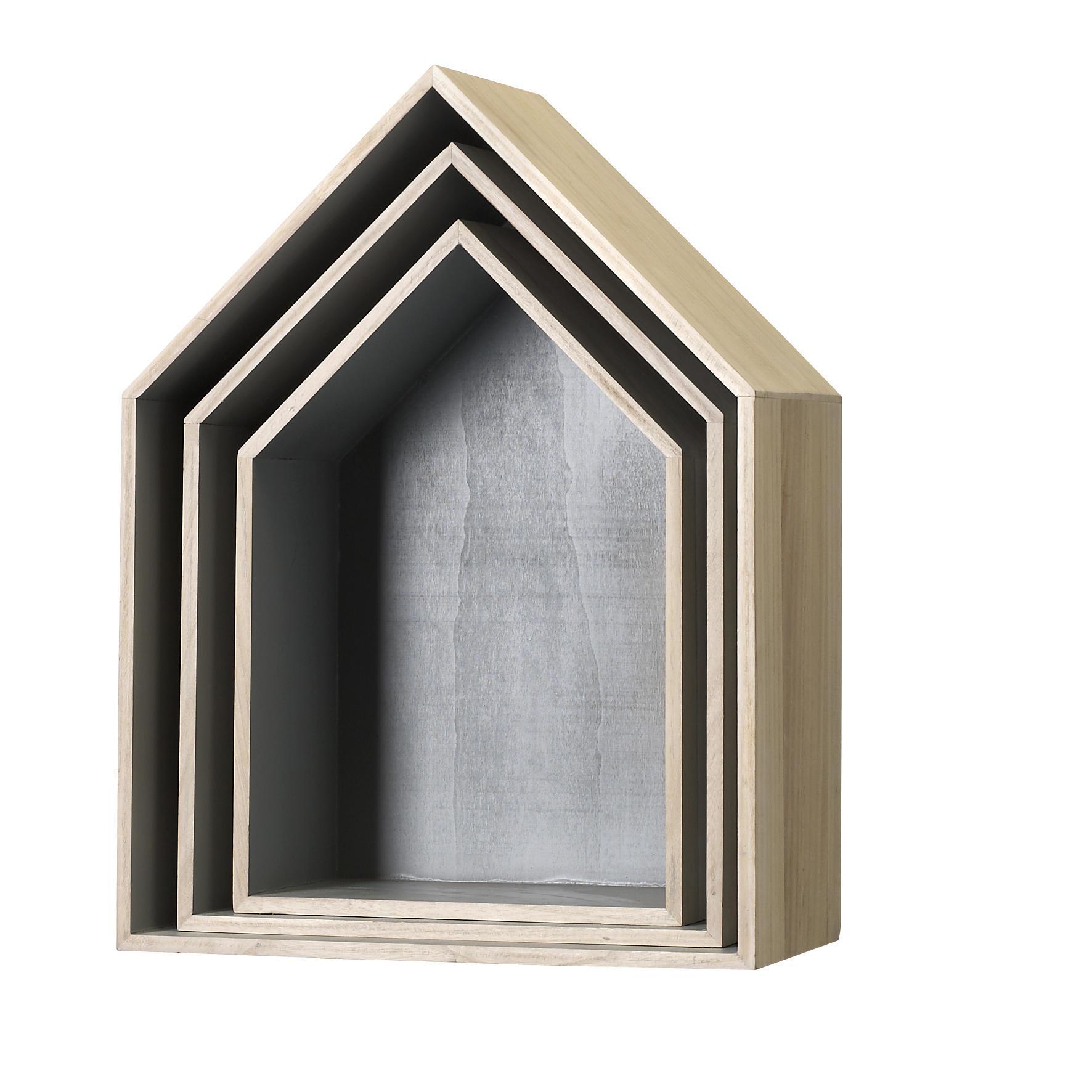 Bloomingville Nástěnná polička House Grey Velikost L, béžová barva, šedá barva, hnědá barva, dřevo