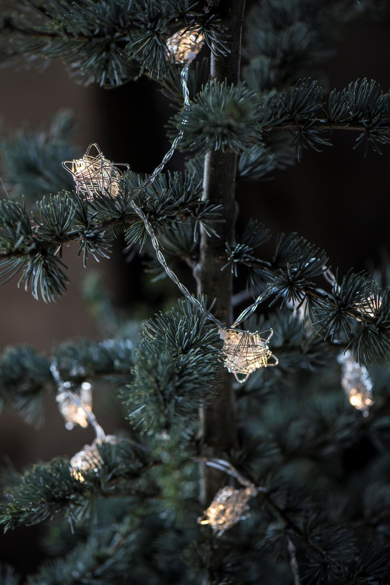 IB LAURSEN Světelný řetěz s kovovými hvězdičkami, stříbrná barva, kov