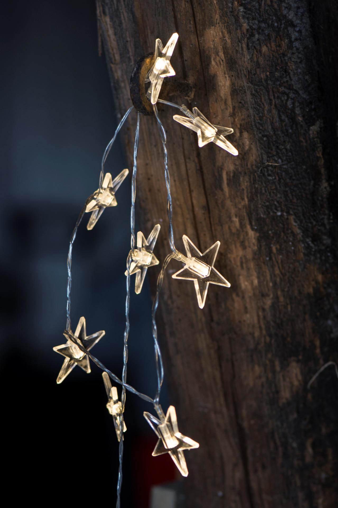 IB LAURSEN Světelný řetěz s hvězdičkami, čirá barva, plast