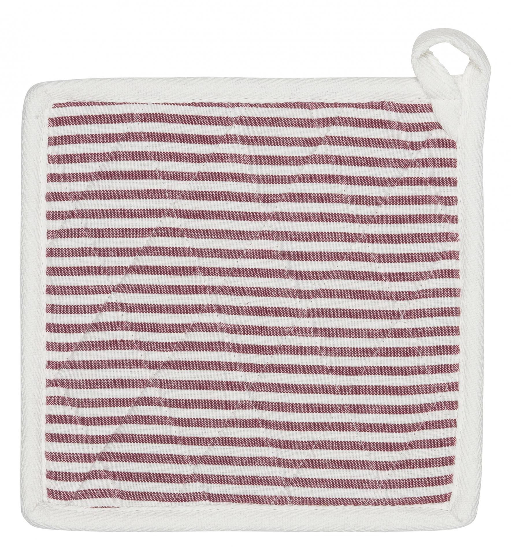 IB LAURSEN Podložka pod hrnec Stripes red, červená barva, textil