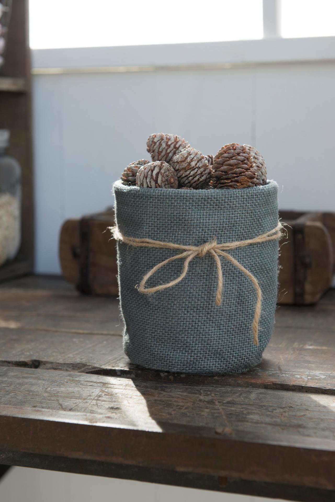 IB LAURSEN Jutový obal na květináč - šedý, šedá barva, textil 11cmx15cm
