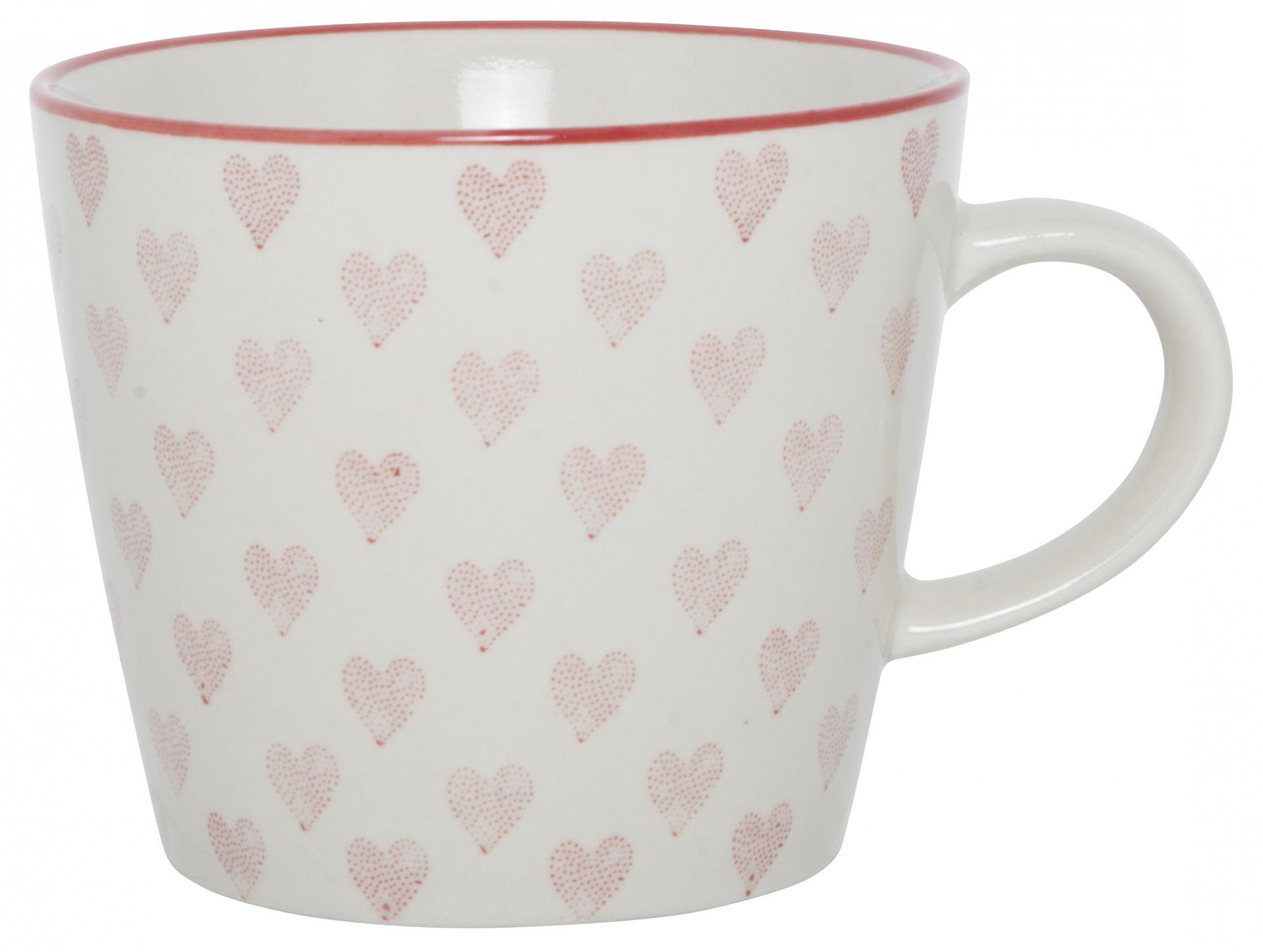 IB LAURSEN Hrneček Heart 300 ml, červená barva, bílá barva, keramika